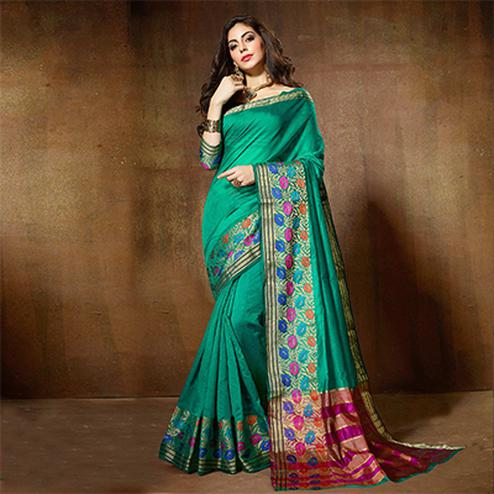 Gorgeous Green Designer Cotton Silk Jacquard Saree