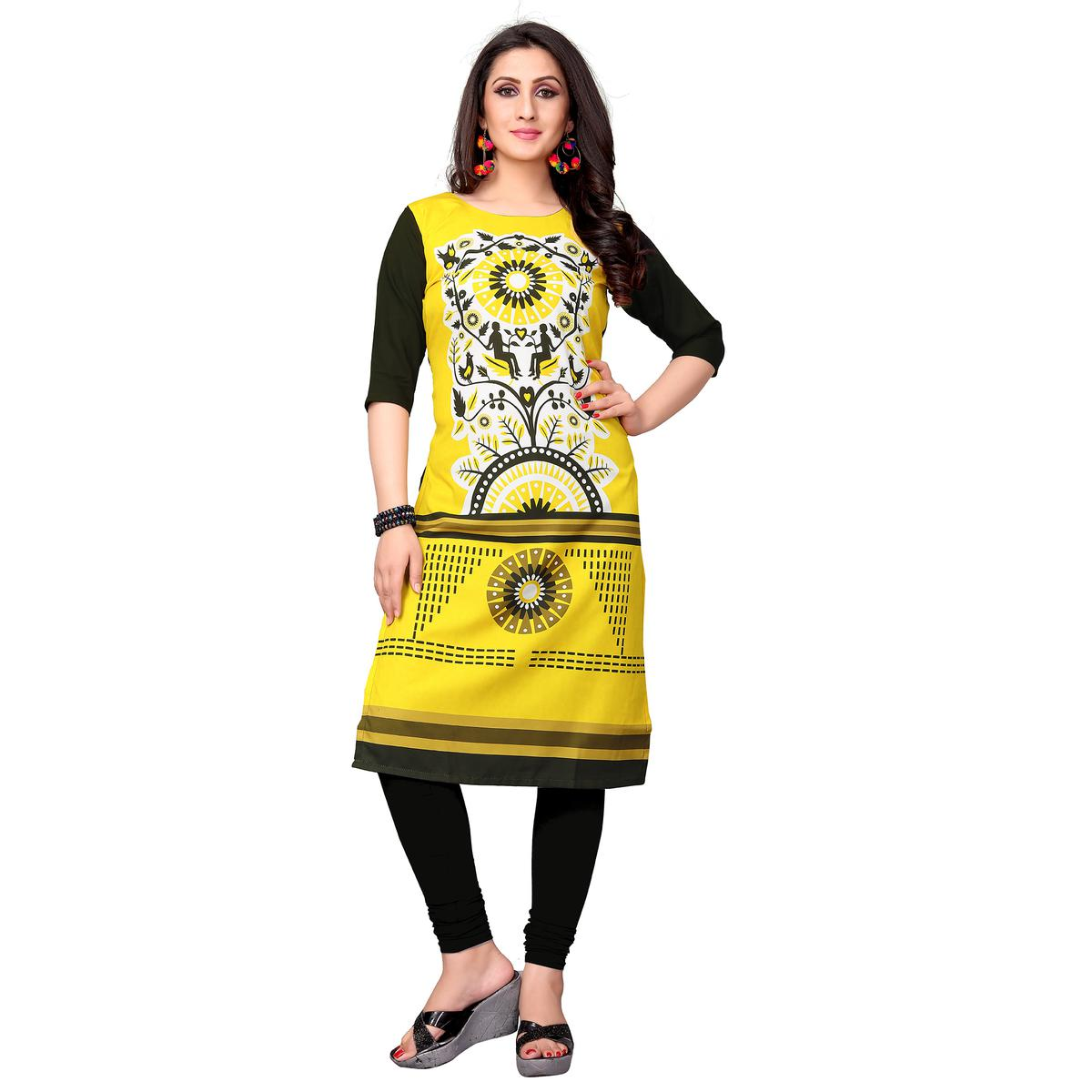Appealing Lemon Yellow Colored Casual Printed Crepe Kurti