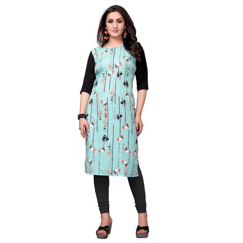 Impressive Aqua Blue Colored Casual Printed Crepe Kurti