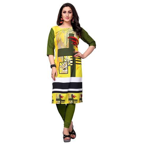 Demanding Yellow-Green Colored Casual Printed Crepe Kurti