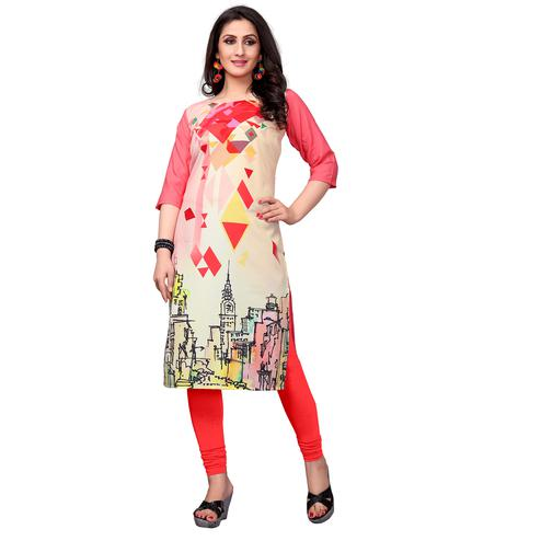 Desiring Cream-Pink Colored Casual Printed Crepe Kurti