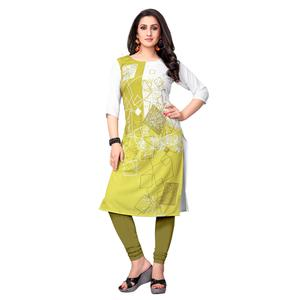Starring White-Green Colored Casual Printed Crepe Kurti