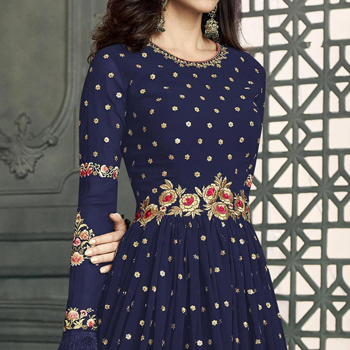Appealing Navy Blue Colored Partywear Embroidered Georgette Anarkali Suit