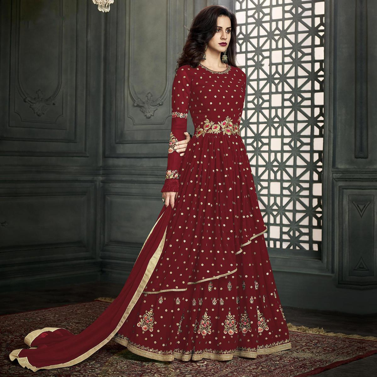Trendy Maroon Colored Partywear Embroidered Georgette Anarkali Suit