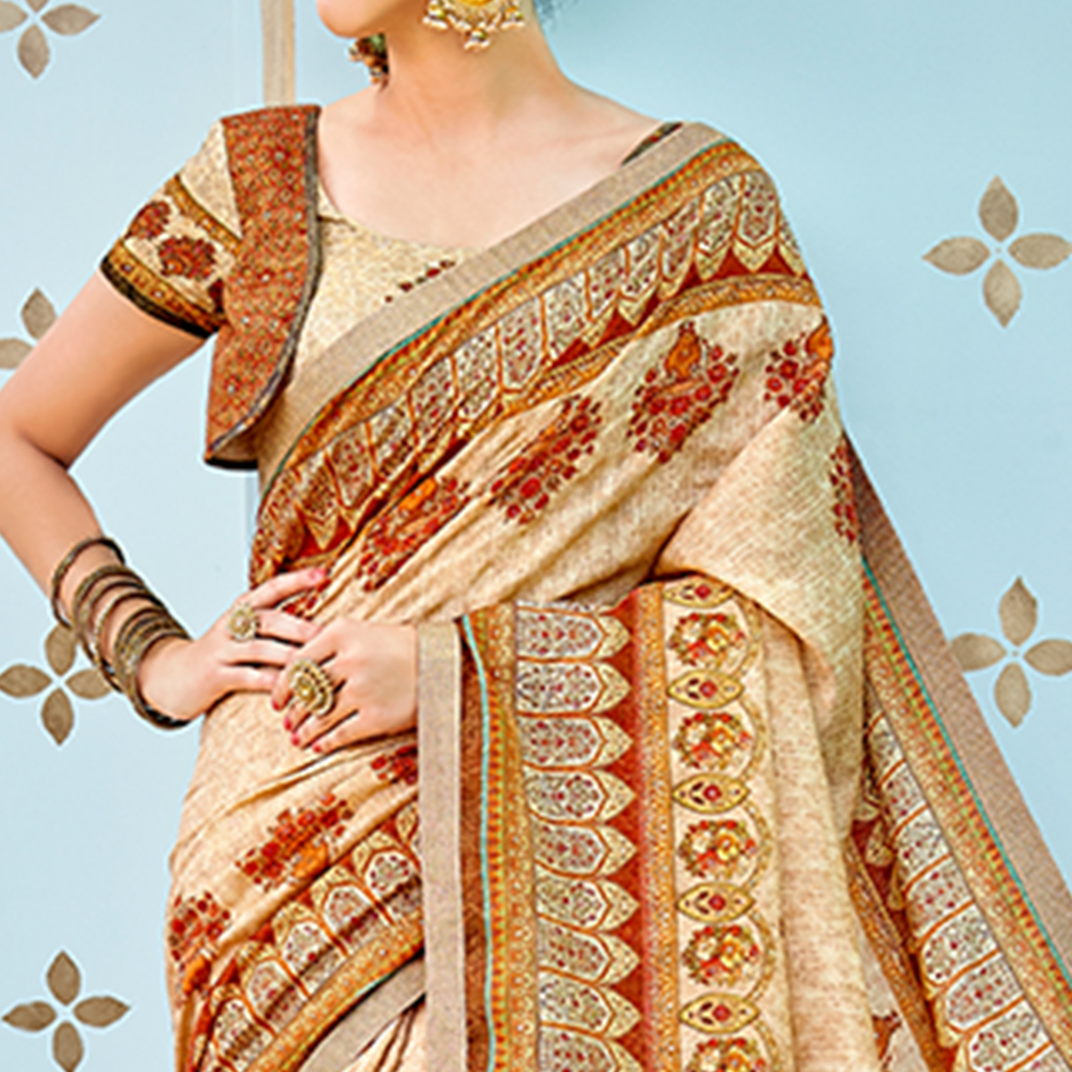 Adorable Beige - Orange Colored Party Wear Digital Printed Banarasi Silk