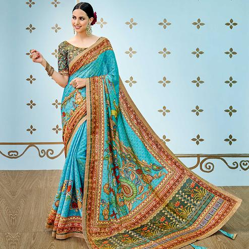 Attractive Turquoise Colored Party Wear Digital Printed Banarasi Silk Saree