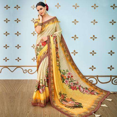 Gorgeous Yellow - Cream Colored Party Wear Digital Printed Banarasi Silk Saree