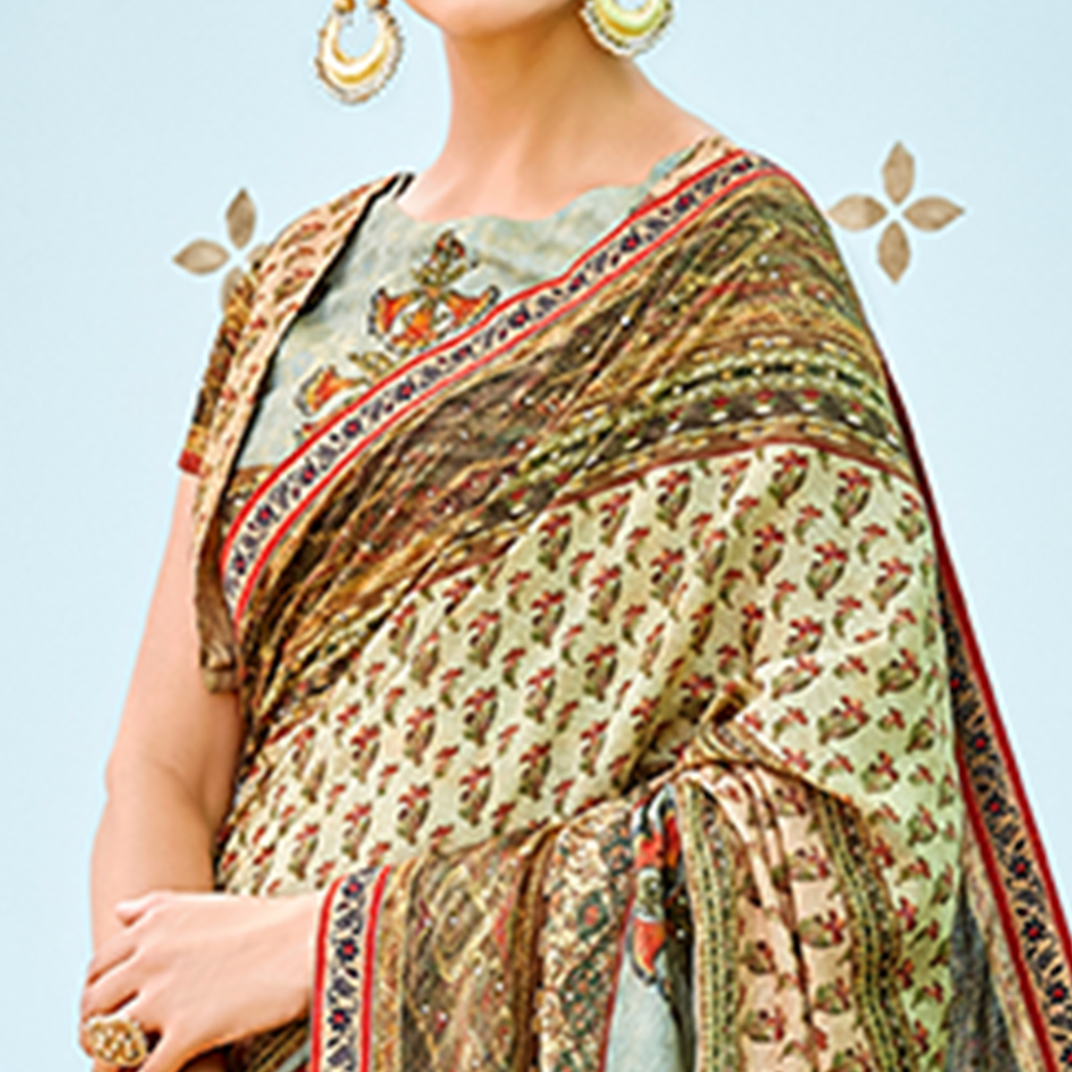 Classy Multi Colored Party Wear Digital Printed Banarasi Silk Saree