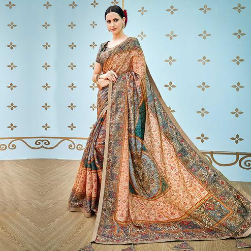 Charming Multi Colored Party Wear Digital Printed Banarasi Silk Saree