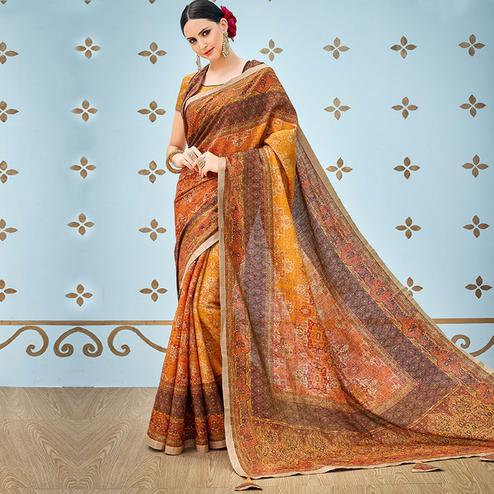 Stunning Mustard Yellow Colored Party Wear Digital Printed Banarasi Silk Saree