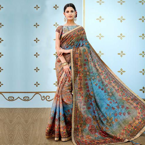 Ravishing Blue - Brown Colored Party Wear Digital Printed Banarasi Silk Saree