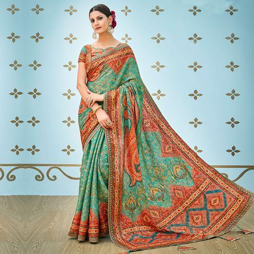 Delightful Green Colored Party Wear Digital Printed Banarasi Silk Saree