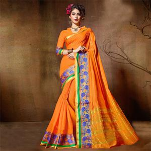 Flamboyant Orange Designer Cotton Silk Jacquard Saree
