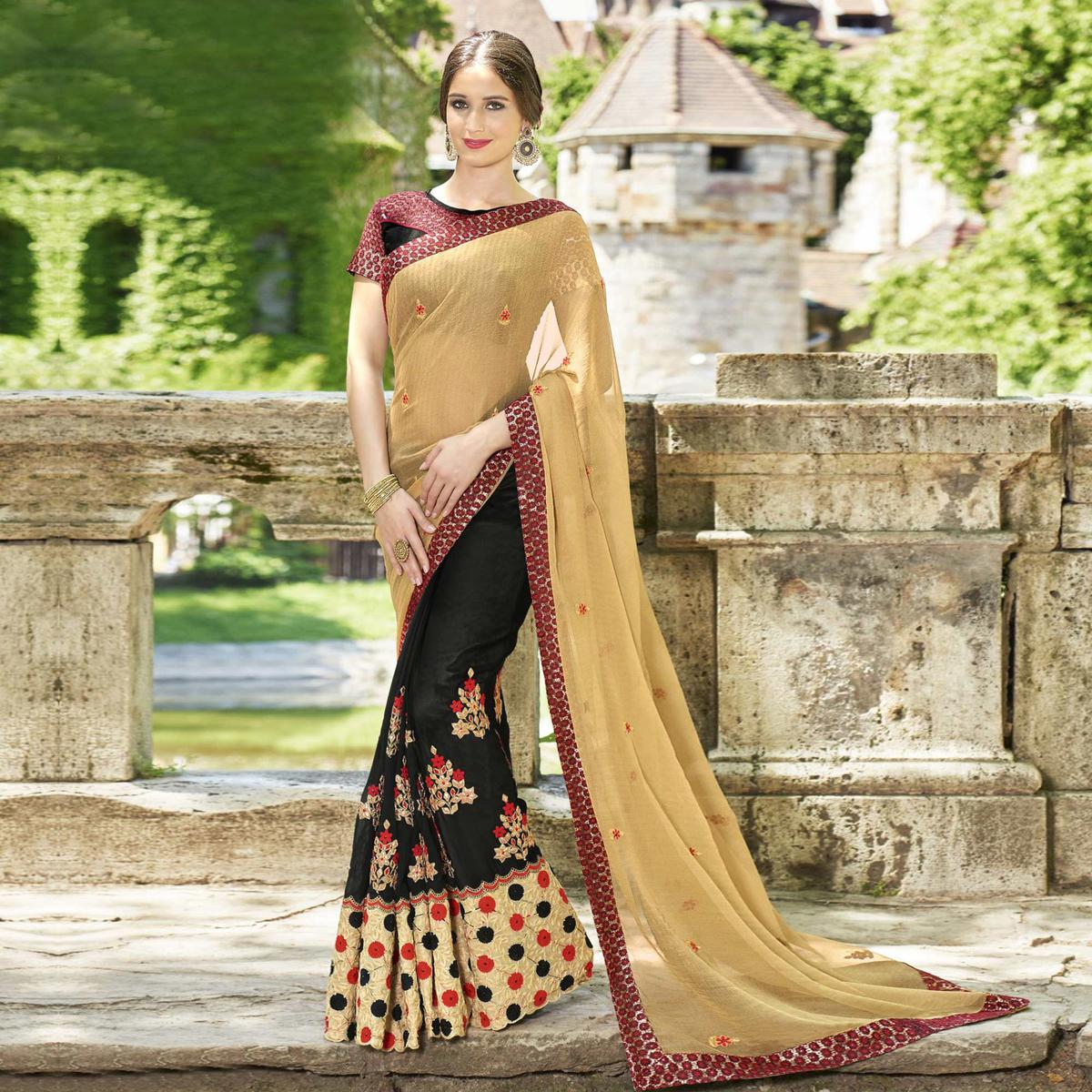 Lovely Black-Beige Colored Partywear Embroidered Faux Georgette Half-Half Saree