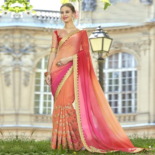 Pretty Peach Colored Partywear Embroidered Faux Georgette Saree