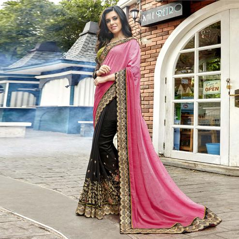 Ravishing Black-Pink Colored Partywear Embroidered Faux Georgette Half-Half Saree