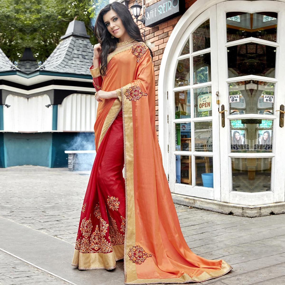 Delightful Red-Peach Colored Partywear Embroidered Faux Georgette Half-Half Saree