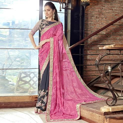 Staring Black-Pink Partywear Embroidered Faux Georgette Half-Half Saree
