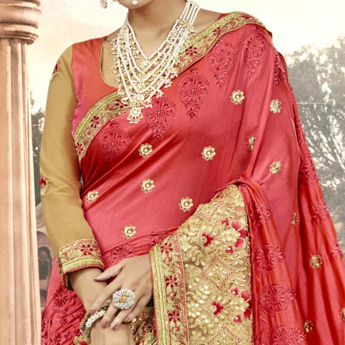 Engrossing Pink Colored Partywear Embroidered Georgette Saree