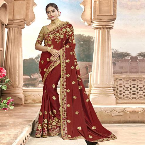 Ideal Maroon Colored Partywear Embroidered Chanderi Silk Saree