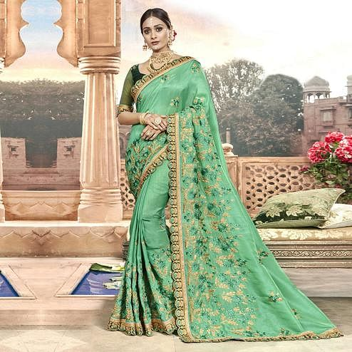 Blissful Turquoise Green Colored Partywear Embroidered Chanderi Silk Saree