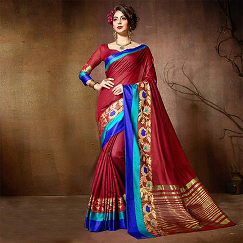 Beautiful Maroon Designer Cotton Silk Jacquard Saree