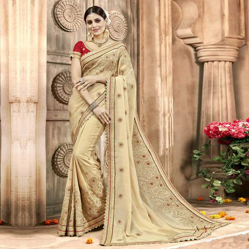 Surpassing Beige Colored Partywear Embroidered Chiffon Saree