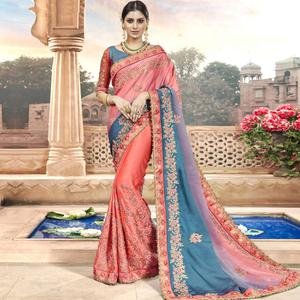 Starring Peach Colored Partywear Embroidered Georgette Saree