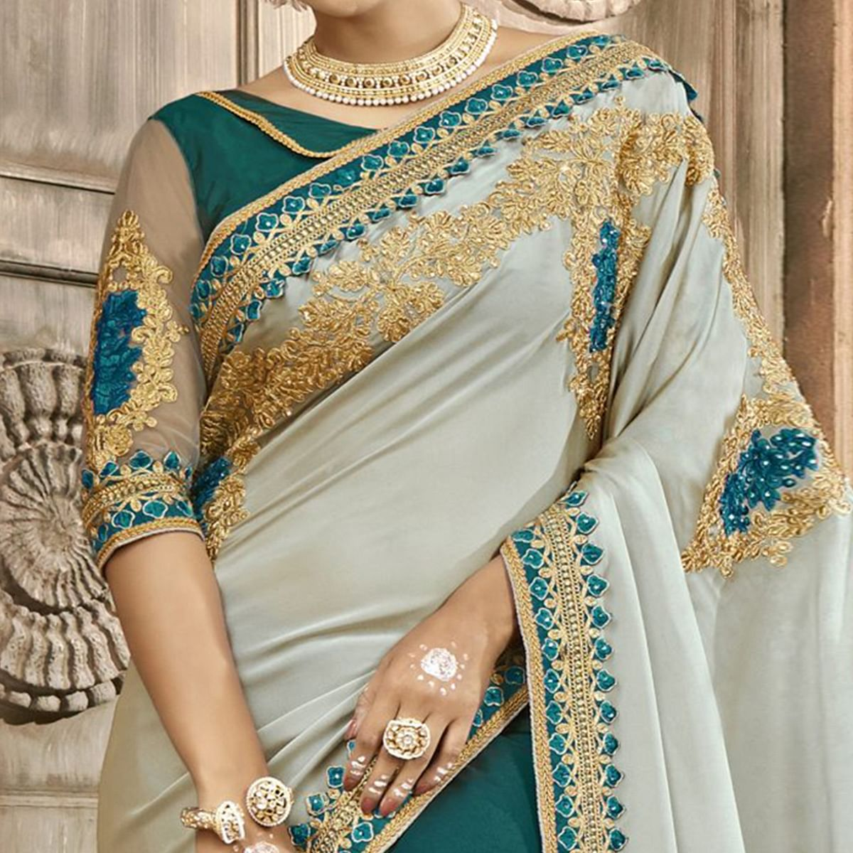Ethnic Teal Green-Gray Colored Partywear Embroidered Chanderi Silk-Georgette Half-Half Saree