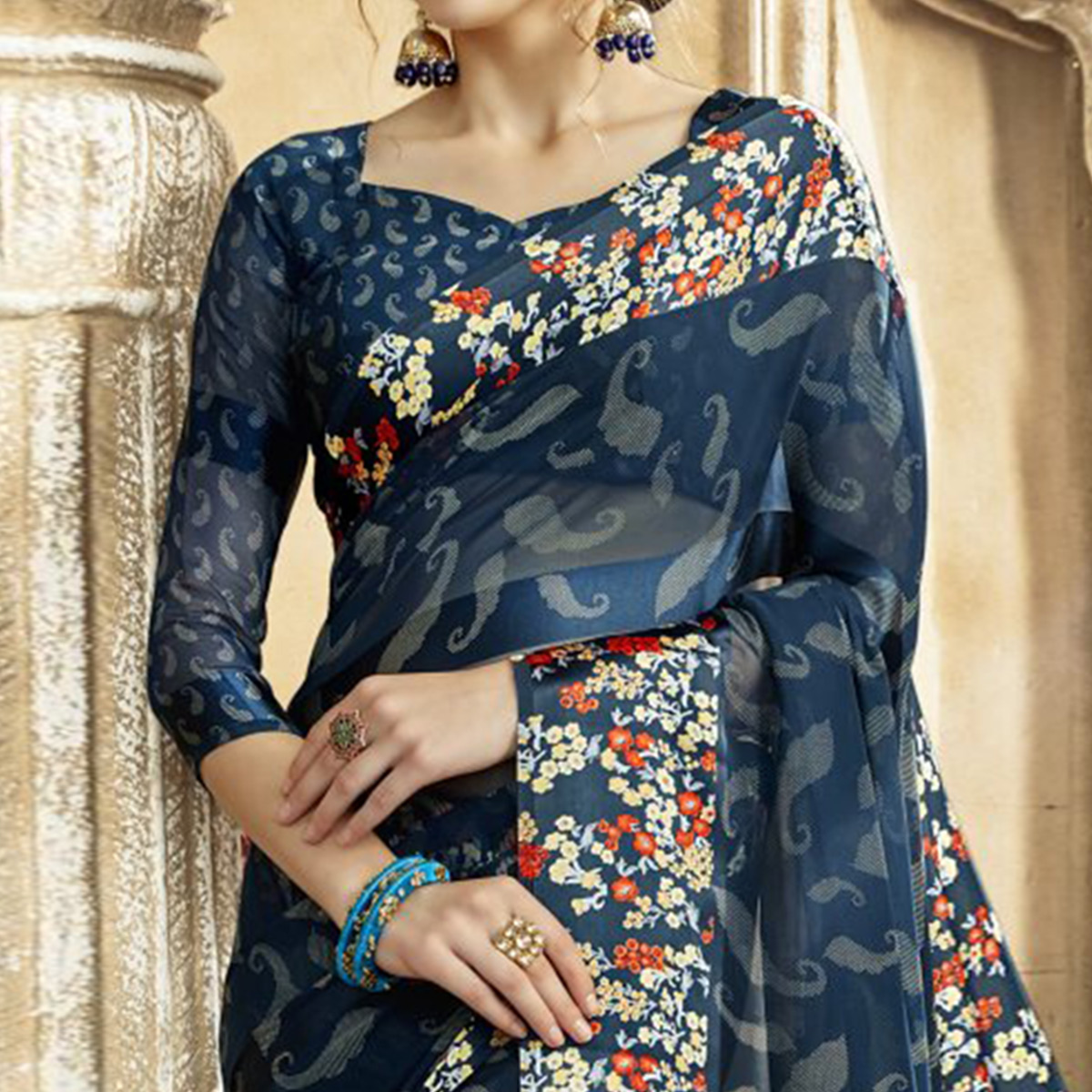 Excellent Navy Blue Colored Casual Printed Georgette-Satin Saree