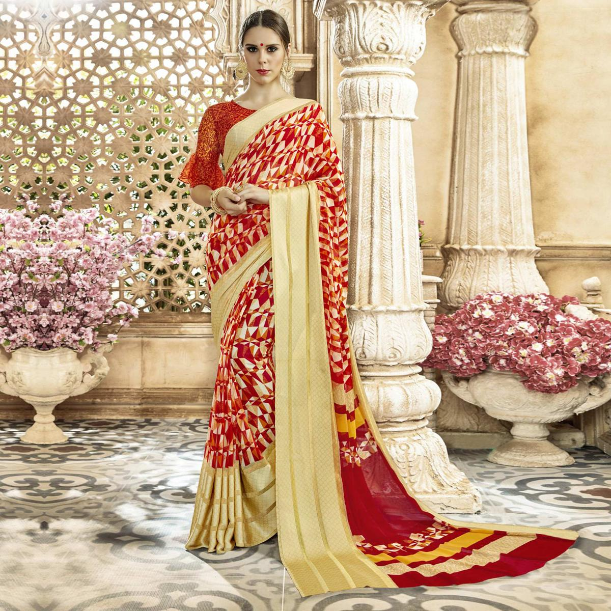 Innovative Red-Beige Colored Casual Printed Georgette-Satin Saree