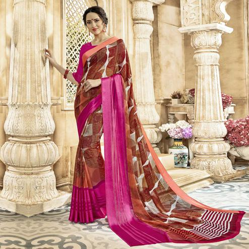 Mesmerising Brown Colored Casual Printed Georgette-Satin Saree