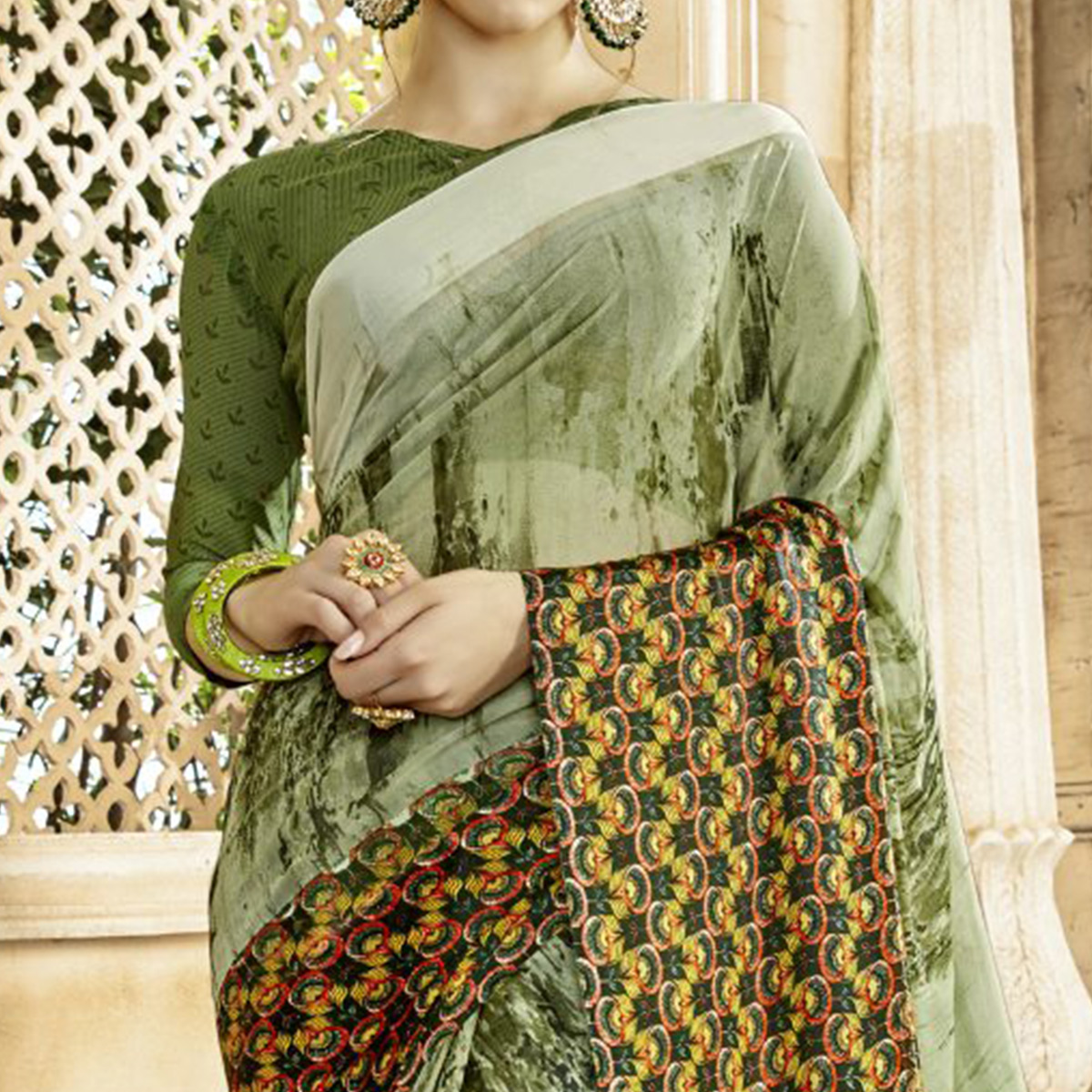 Eye-catching Pastel Green Colored Casual Printed Georgette-Satin Saree