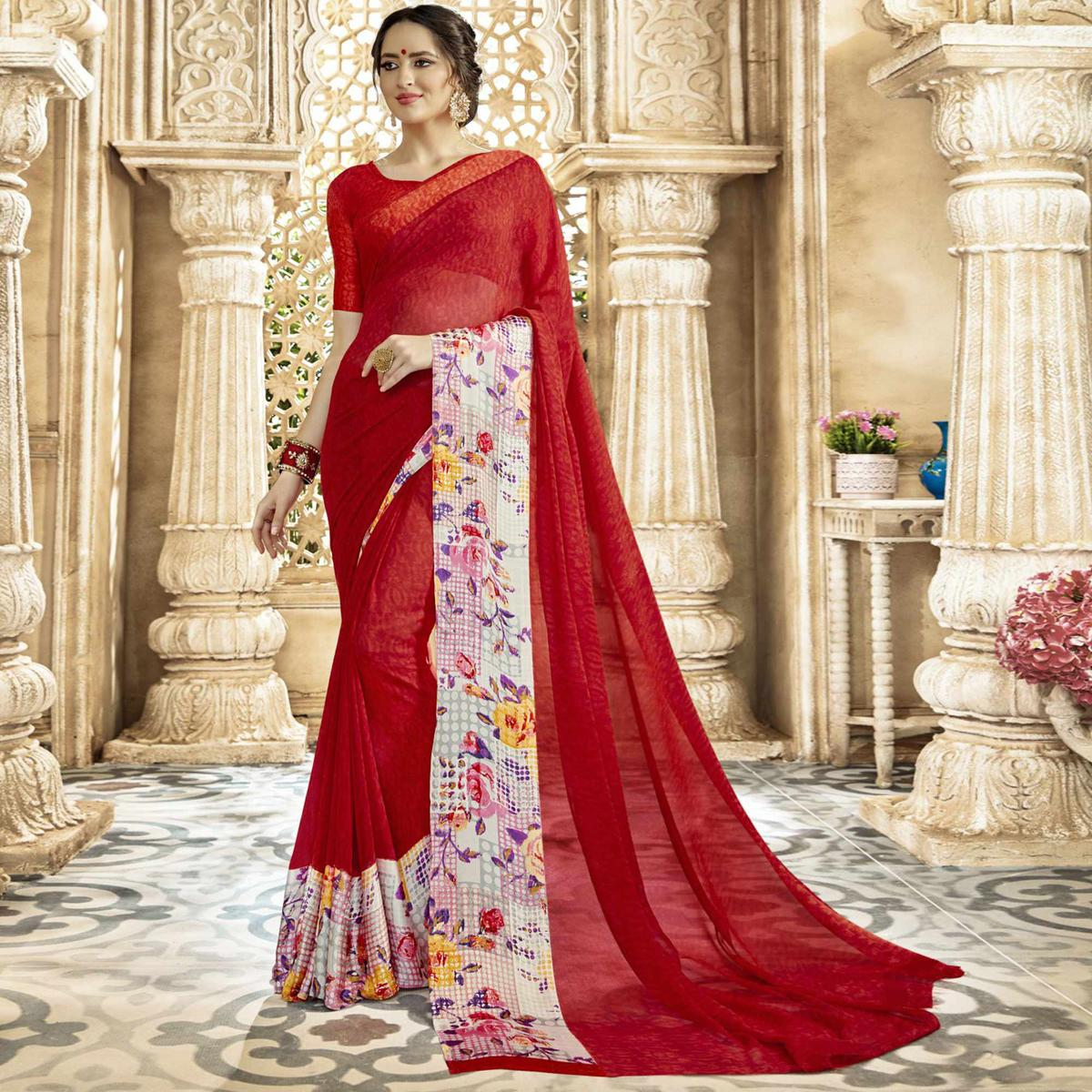Amazing Red Colored Casual Printed Georgette-Satin Saree