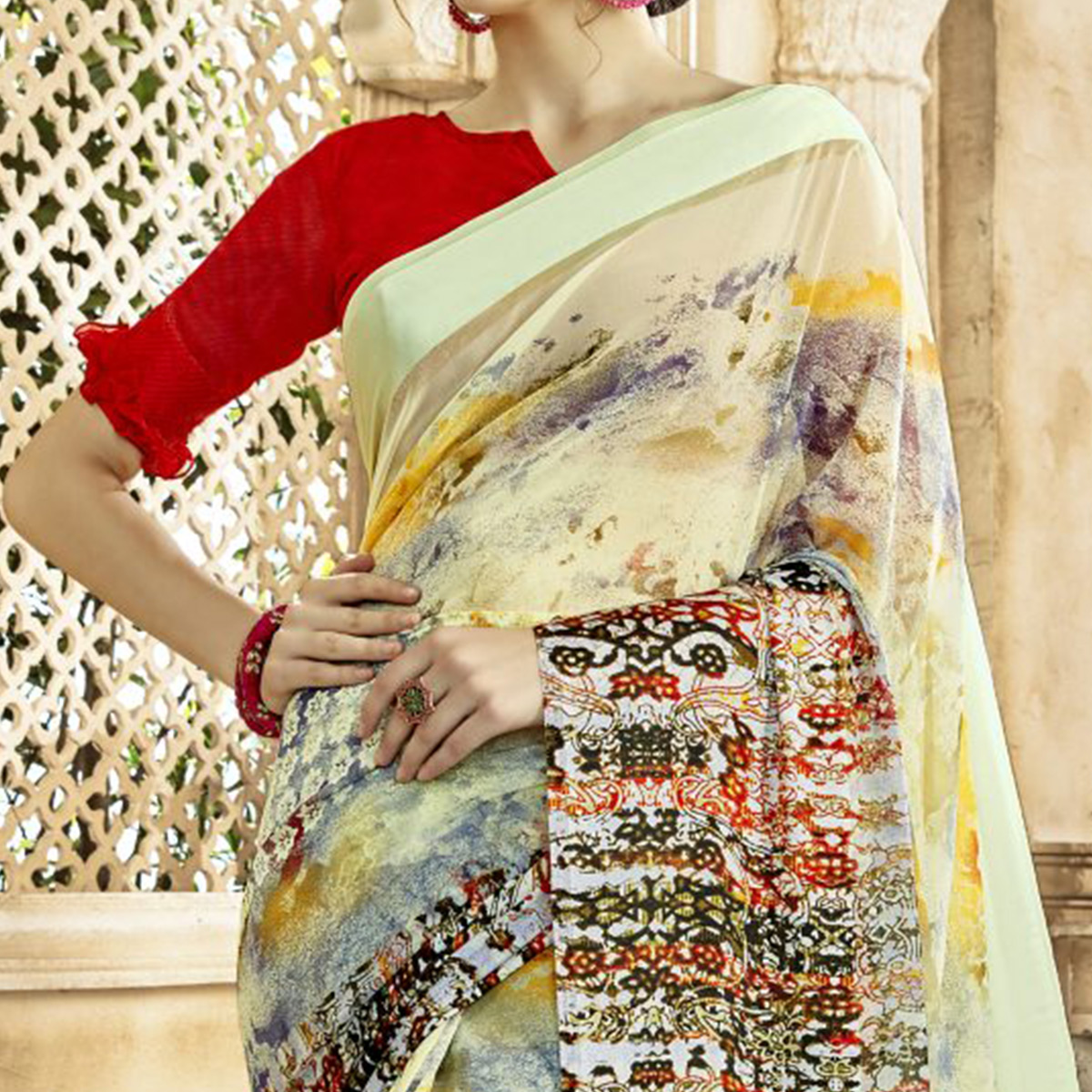 Exotic Light Yellow Colored Casual Printed Georgette-Satin Saree