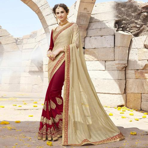 Preferable Red-Beige Colored Partywear Faux Georgette Half-Half Saree