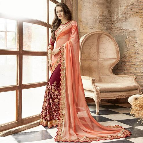 Attractive Maroon-Peach Colored Partywear Embroidered Chiffon-Faux Georgette Half-Half Saree