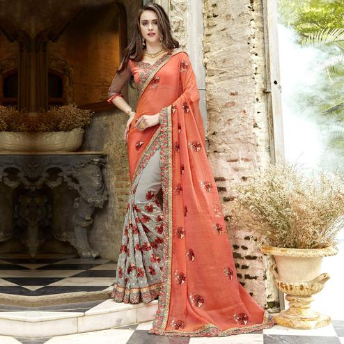 Beautiful Peach-Gray Colored Partywear Embroidered Chiffon-Faux Georgette Half-Half Saree