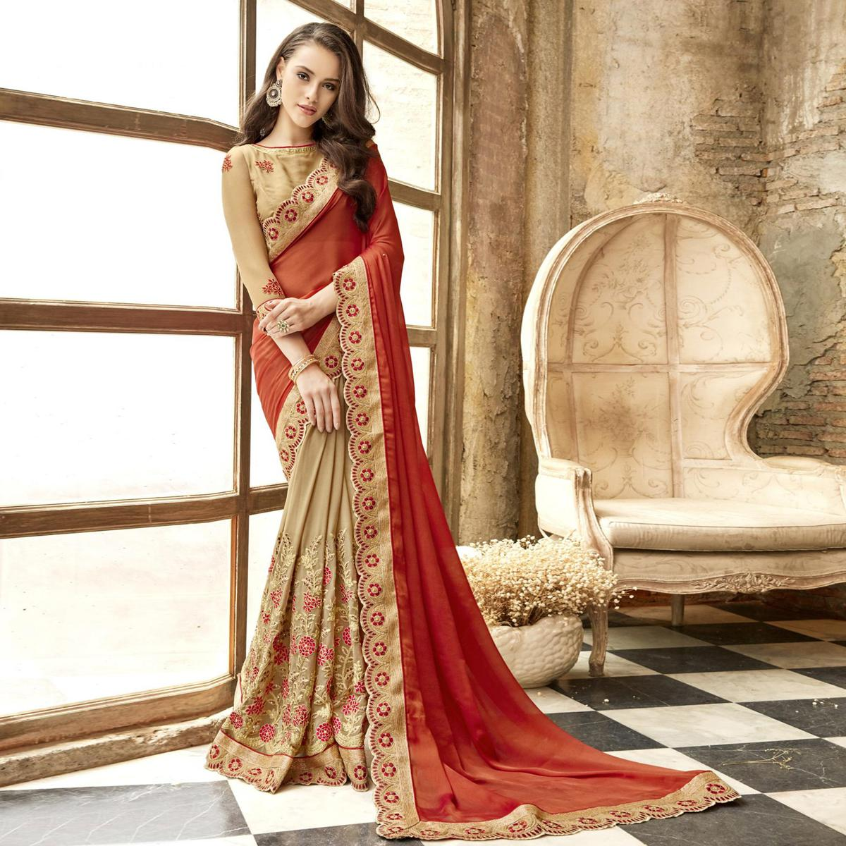 Gorgeous Chiku-Red Colored Partywear Embroidered Chiffon-Faux Georgette Half-Half Saree