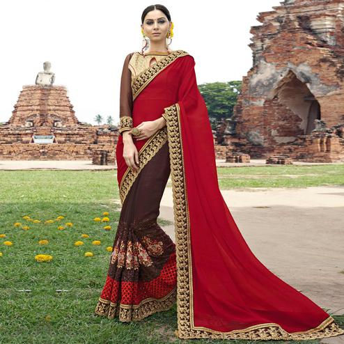 Classy Brown-Red Colored Partywear Embroidered Faux Georgette Saree