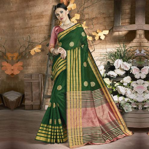 Glorious Dark Green Colored Festive Wear Embroidered Art Silk Saree