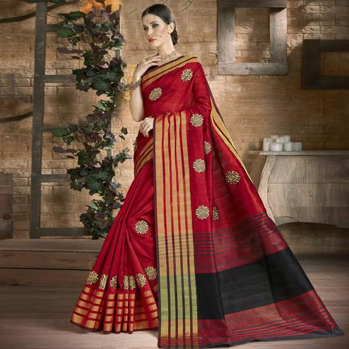 Graceful Red Colored Festive Wear Embroidered Art Silk Saree