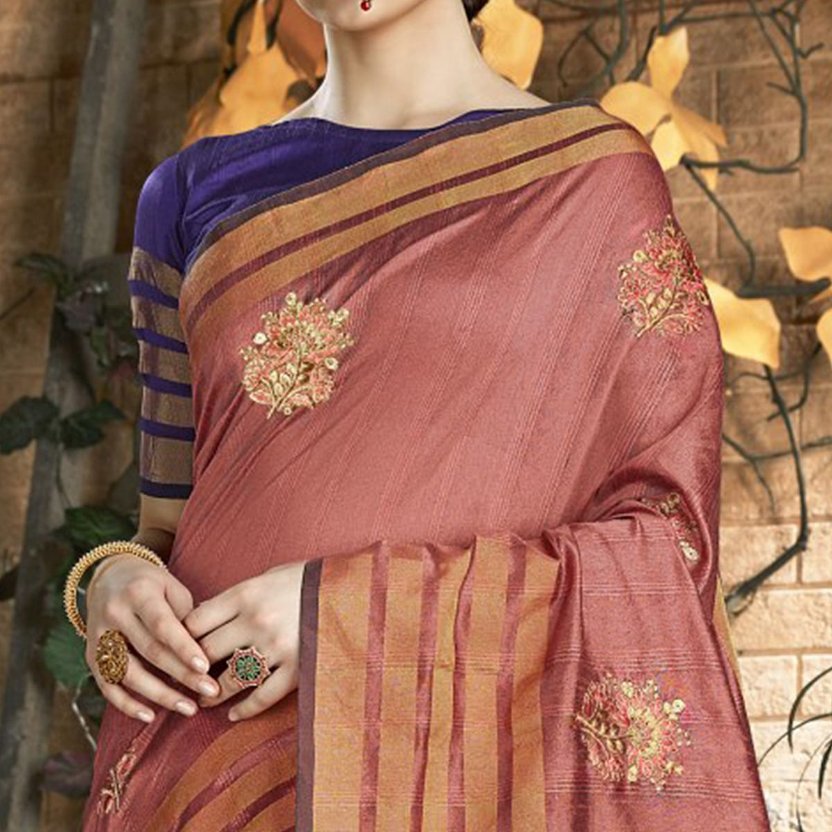 Lovely Peach Colored Festive Wear Embroidered Art Silk Saree