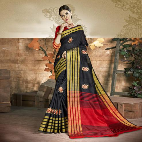 Ravishing Black Colored Festive Wear Embroidered Art Silk Saree