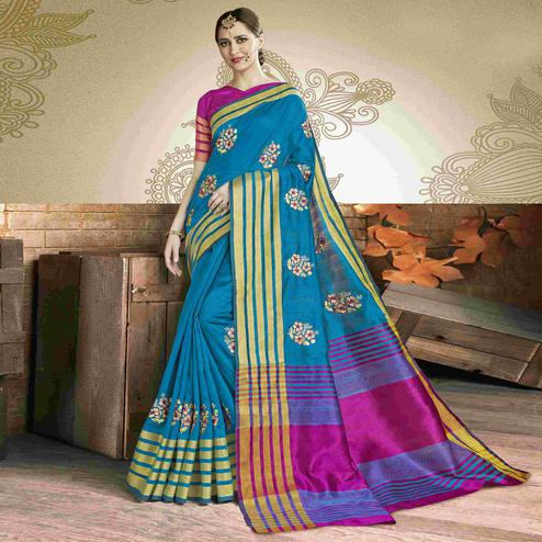 Adorable Blue Colored Festive Wear Embroidered Art Silk Saree