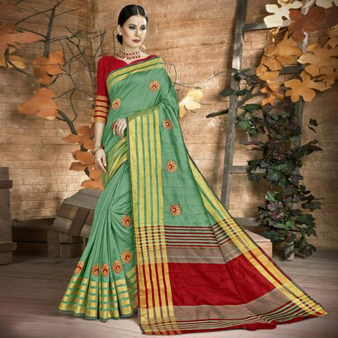 Attractive Green Colored Festive Wear Embroidered Art Silk Saree