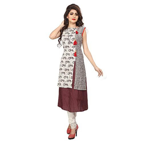 White And Brown Digital Printed Designer Rayon-Cotton Kurti