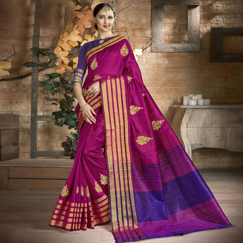 Jazzy Violet Colored Festive Wear Embroidered Art Silk Saree