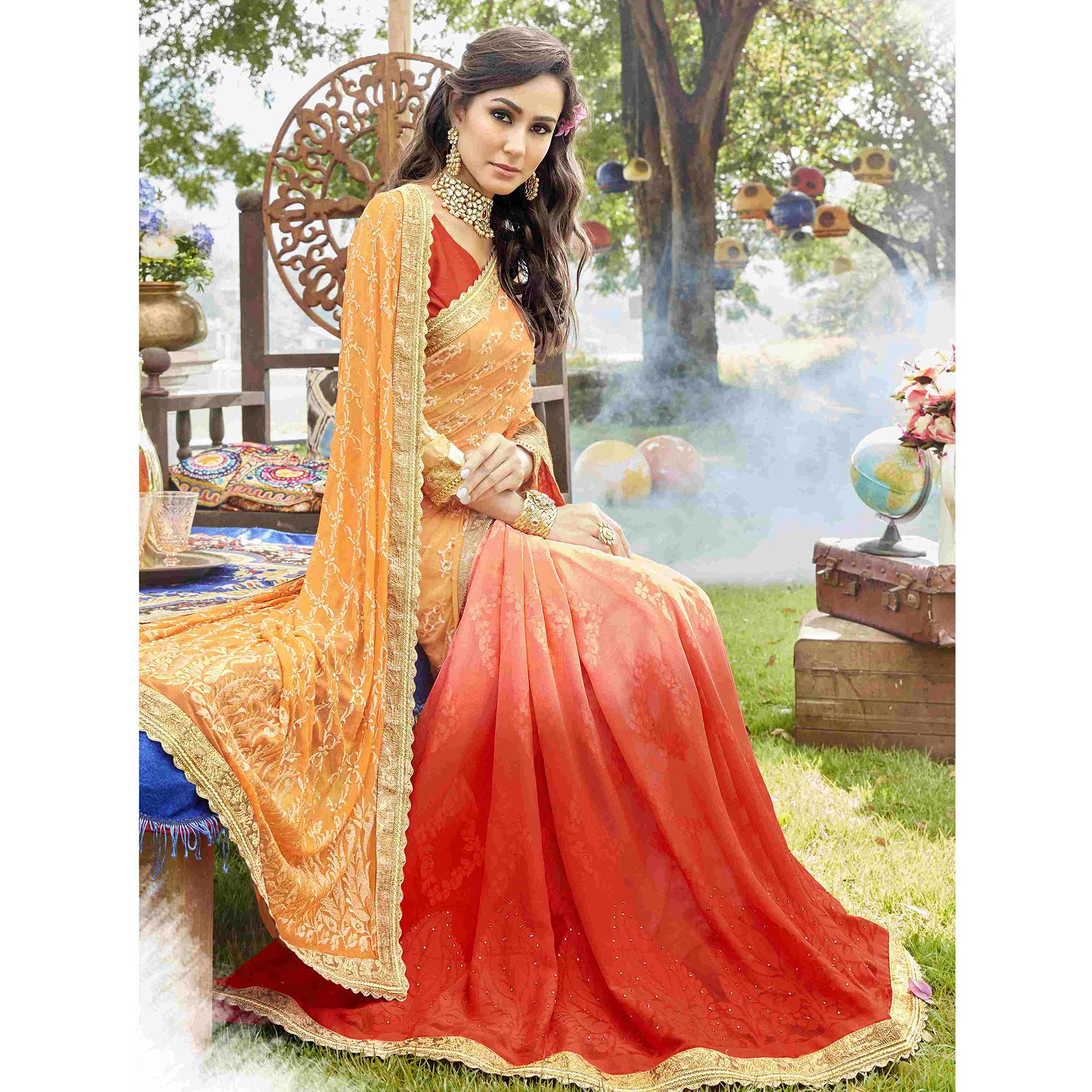 e5ebb55945b Groovy Yellow-Red Colored Partywear Embroidered Georgette Half-Half Saree
