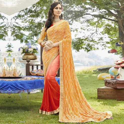 Groovy Yellow-Red Colored Partywear Embroidered Georgette Half-Half Saree